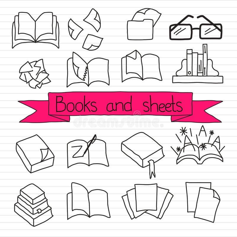 Insieme dell'icona dei libri illustrazione di stock