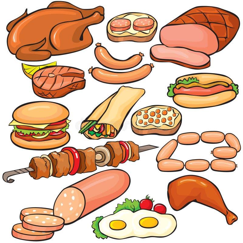 Insieme dell'icona dei prodotti a base di carne immagine stock libera da diritti