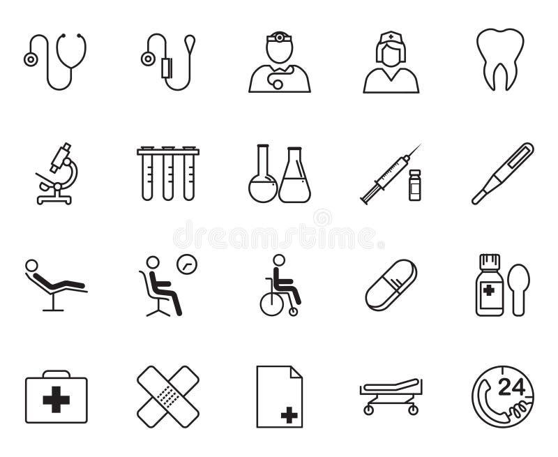 Insieme dell'icona dei rifornimenti e dell'attrezzatura medica illustrazione di stock