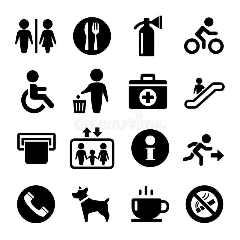 Insieme dell'icona dei segni di servizio internazionale di vettore illustrazione vettoriale