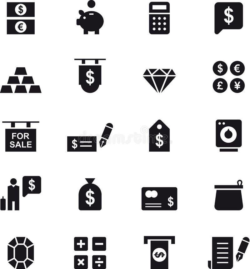 Insieme dell'icona dei soldi illustrazione di stock