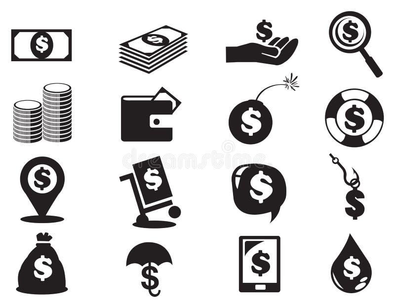 Insieme dell'icona dei soldi delle banconote e delle monete del dollaro royalty illustrazione gratis