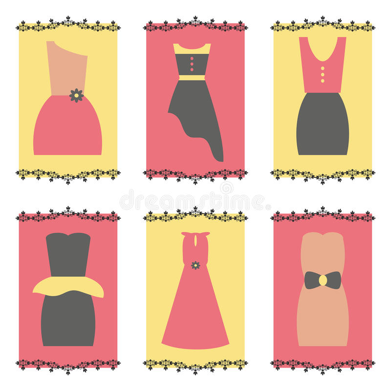 Insieme dell'icona dei vestiti dalle donne royalty illustrazione gratis