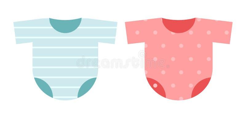 Insieme dell'icona dei vestiti per i bambini: blu a strisce della tuta dei costumi per il ragazzo ed i pois rosa per la ragazza illustrazione di stock