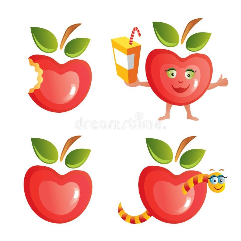 Insieme dell'icona del Apple illustrazione di stock
