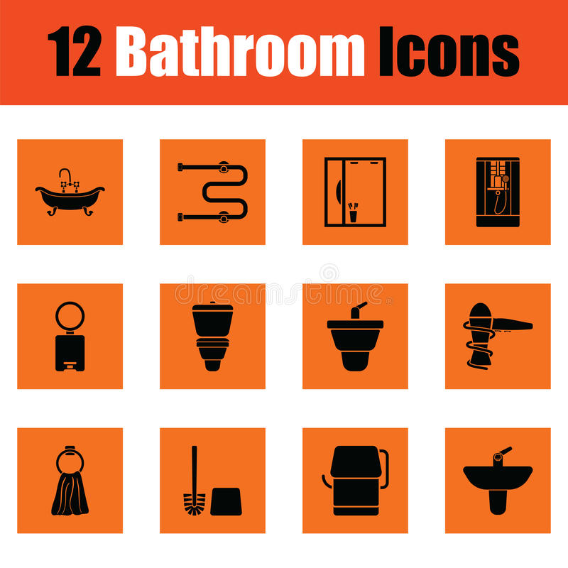 Insieme dell'icona del bagno illustrazione di stock