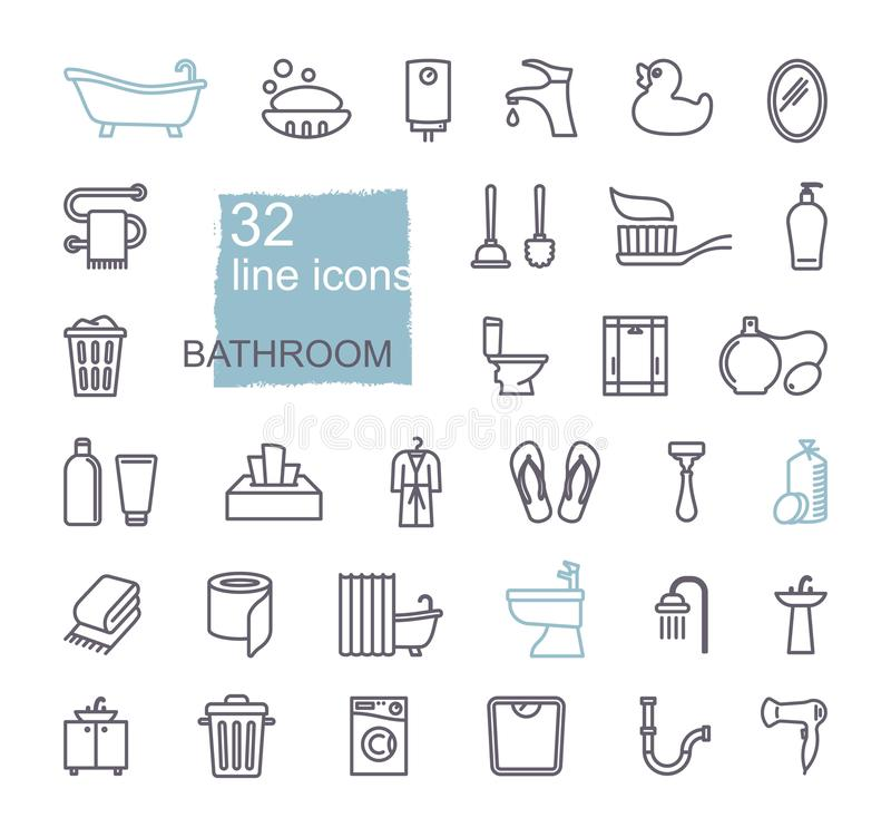 Insieme dell'icona del bagno della toilette Linea vettore delle azione di stile illustrazione vettoriale