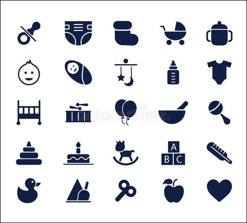 Insieme dell'icona del bambino, icona di glifo, icona fresca, icona sveglia, progettazione dell'icona del giocattolo, icona liber illustrazione vettoriale