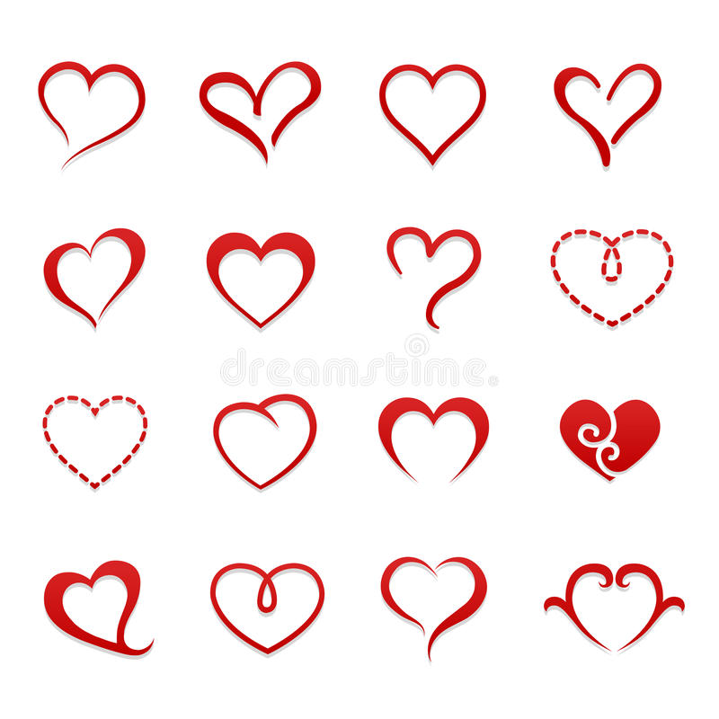 Insieme dell'icona del biglietto di S. Valentino del cuore illustrazione vettoriale