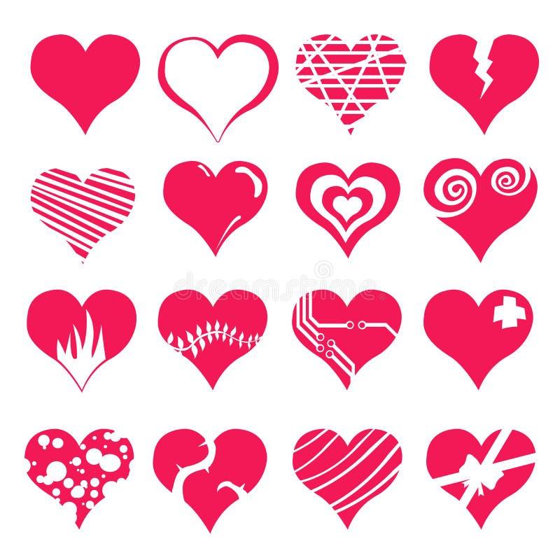 Insieme dell'icona del biglietto di S. Valentino del cuore illustrazione di stock