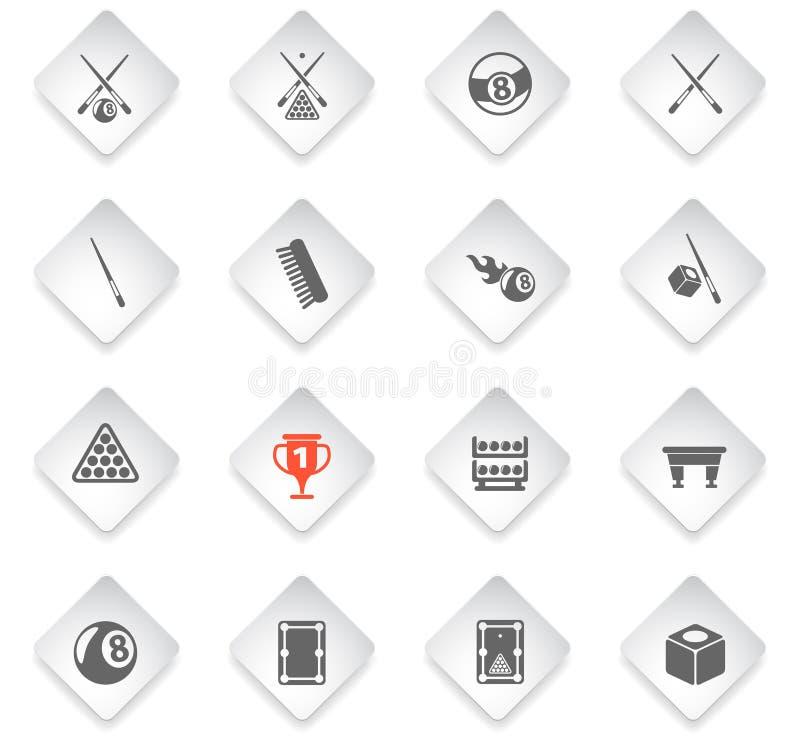 Insieme dell'icona del biliardo illustrazione di stock