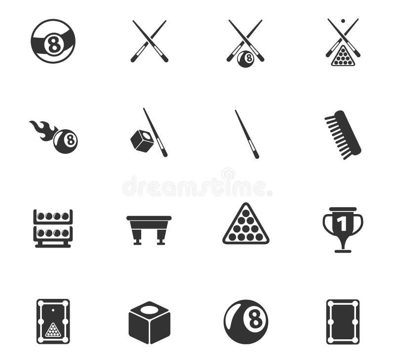 Insieme dell'icona del biliardo royalty illustrazione gratis