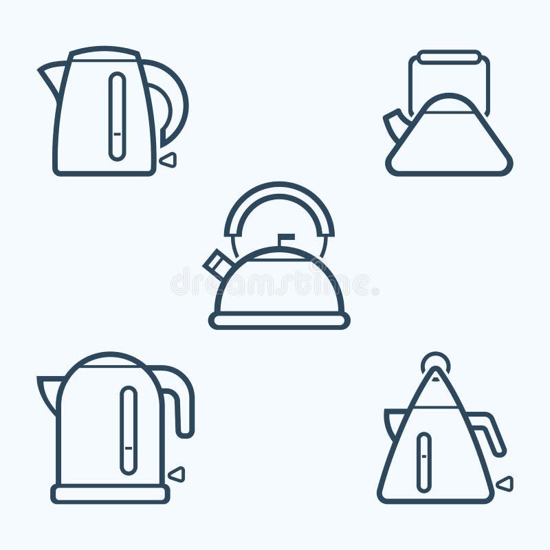 Insieme dell'icona del bollitore, simbolo di vettore royalty illustrazione gratis