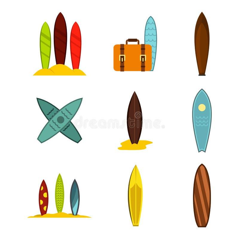 Insieme dell'icona del bordo di spuma, stile piano illustrazione di stock