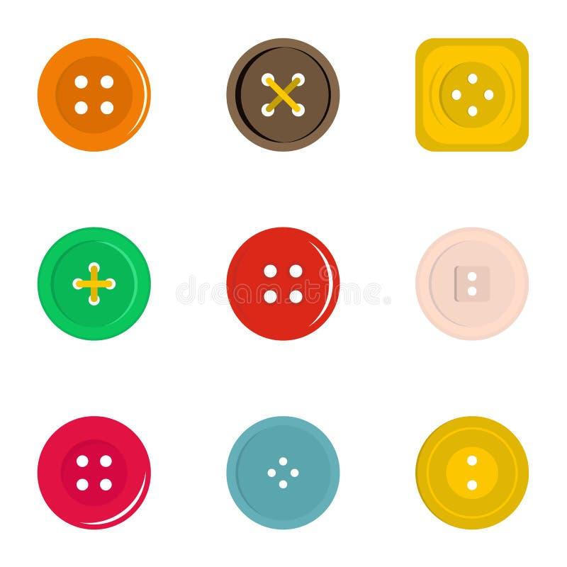 Insieme dell'icona del bottone dei vestiti, stile piano illustrazione di stock