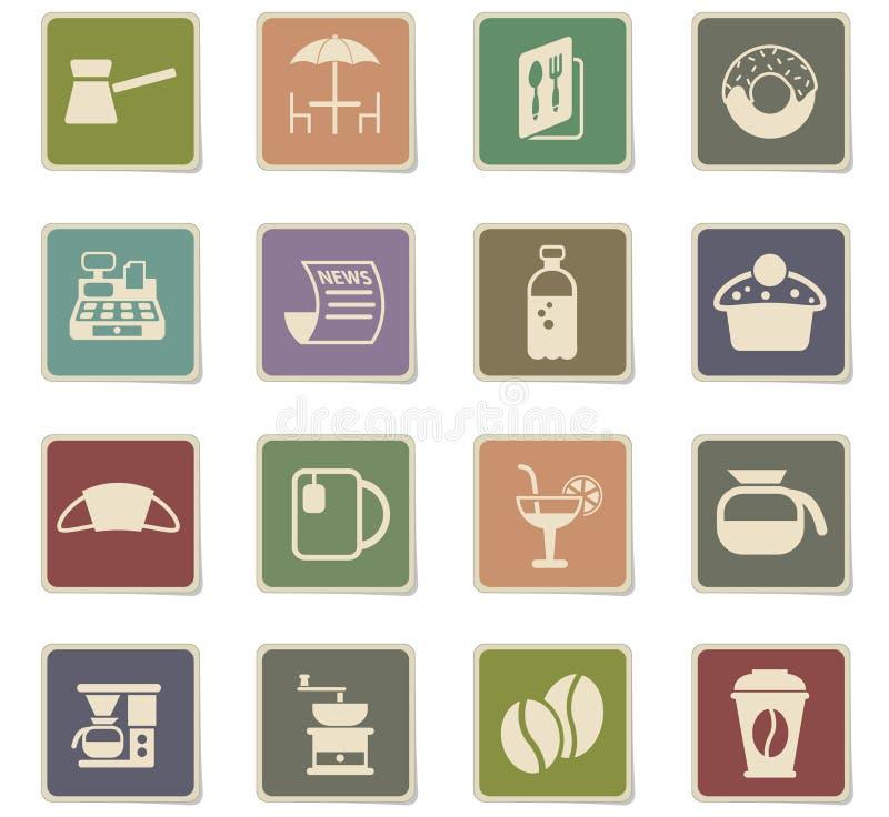 Insieme dell'icona del caffè illustrazione di stock