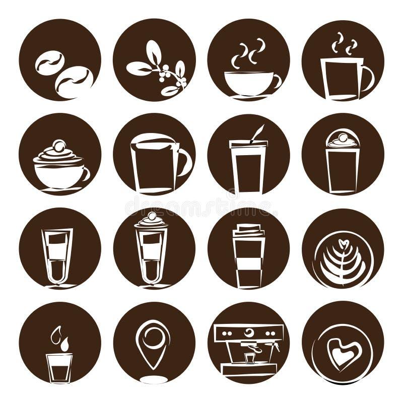 Insieme dell'icona del caffè, caffetteria del chicco di caffè fotografia stock libera da diritti