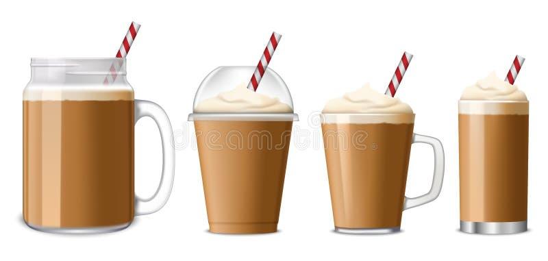 Insieme dell'icona del caffè di ghiaccio, stile realistico royalty illustrazione gratis