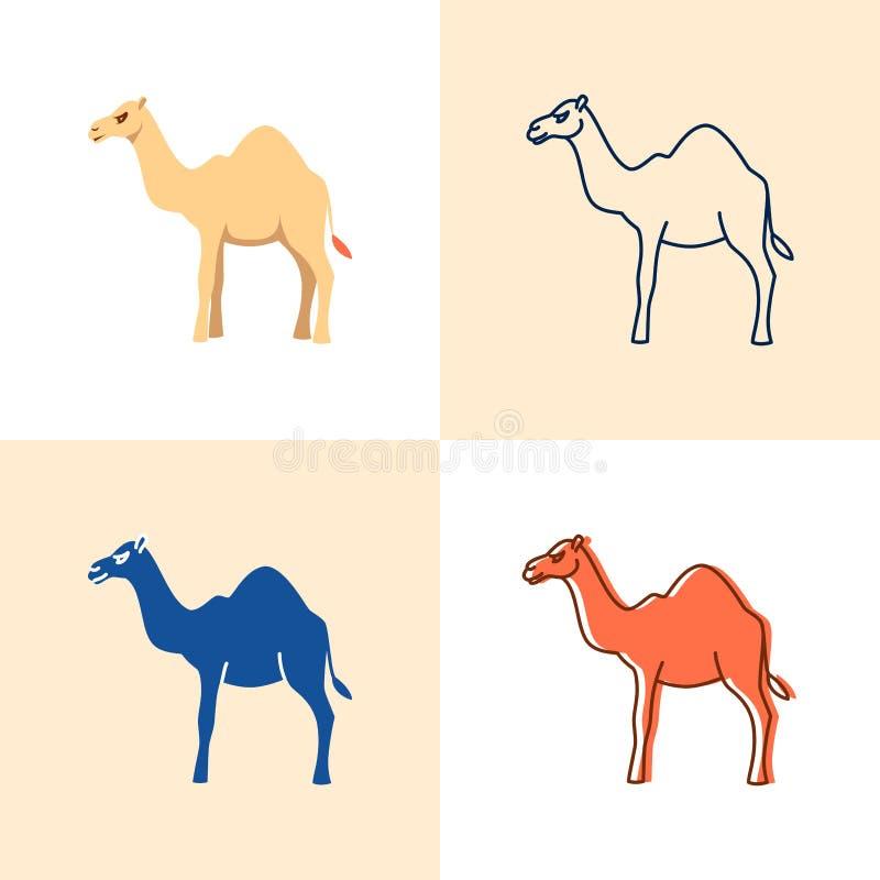 Insieme dell'icona del cammello in piano e nella linea stile illustrazione vettoriale