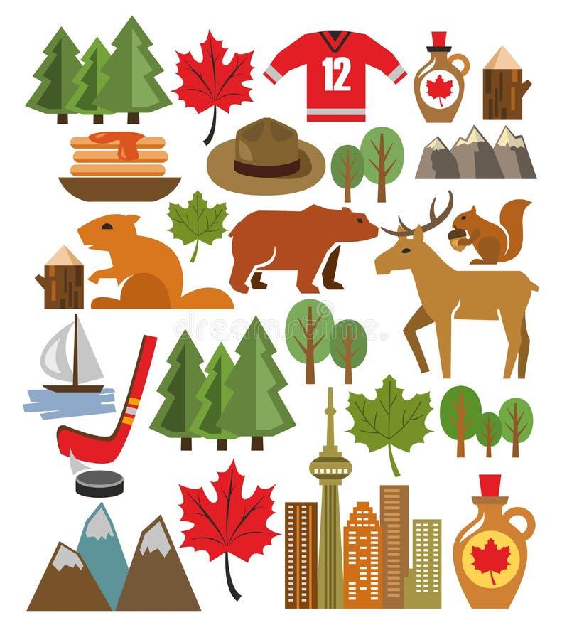 Insieme dell'icona del Canada di vettore royalty illustrazione gratis