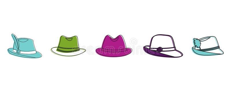 Insieme dell'icona del cappello di Panama, stile del profilo di colore illustrazione vettoriale