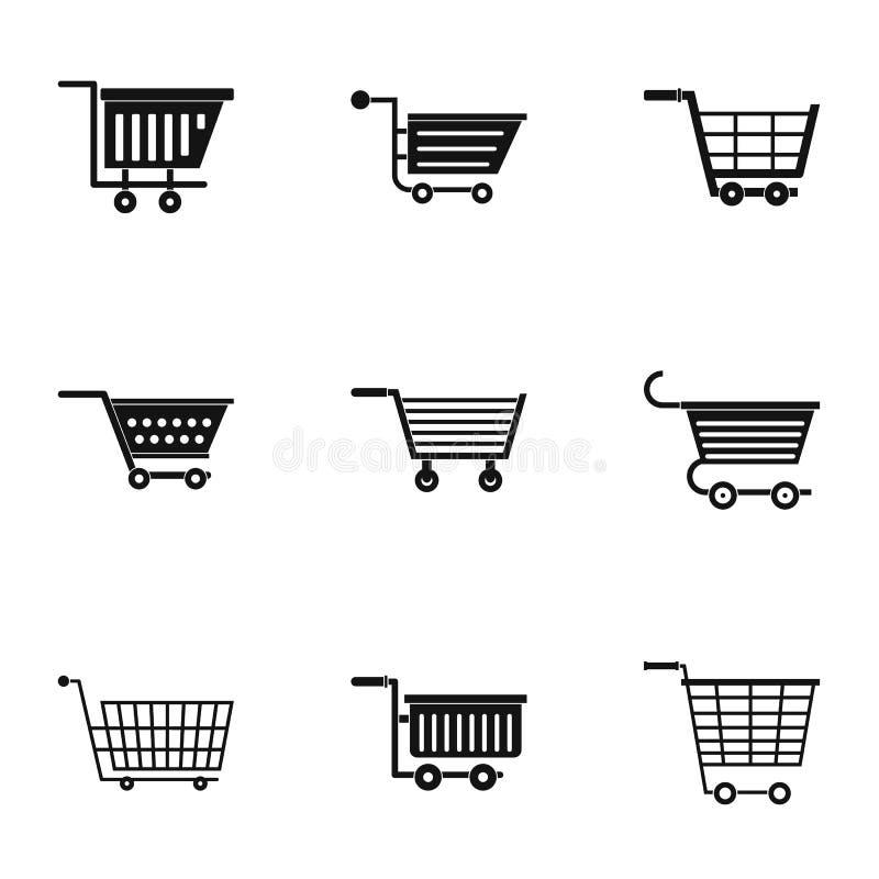 Insieme dell'icona del carretto del supermercato, stile semplice royalty illustrazione gratis