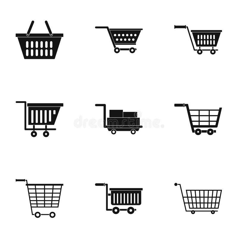 Insieme dell'icona del carretto della ruota del mercato, stile semplice illustrazione vettoriale