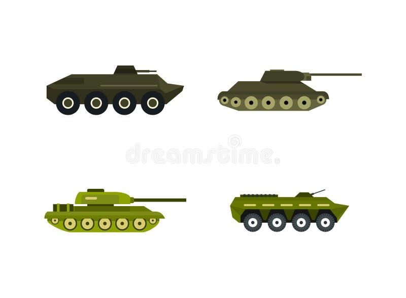 Insieme dell'icona del carro armato, stile piano royalty illustrazione gratis