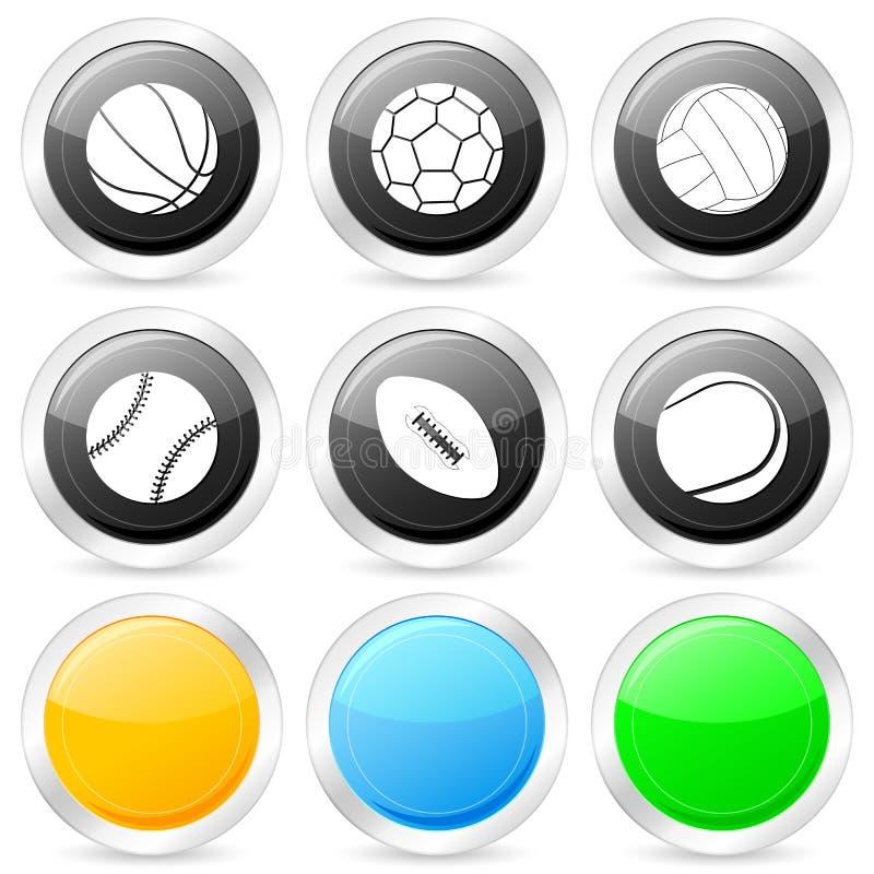 Insieme dell'icona del cerchio della sfera di sport illustrazione vettoriale