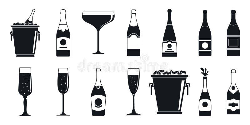 Insieme dell'icona del champagne del partito, stile semplice illustrazione vettoriale