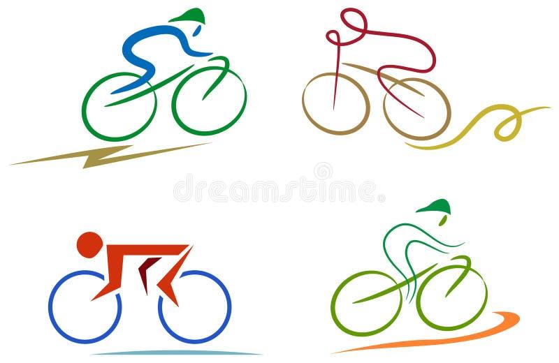Insieme dell'icona del ciclista illustrazione vettoriale