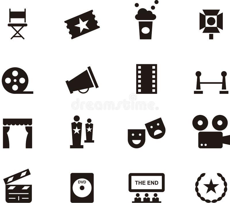Insieme dell'icona del cinema illustrazione di stock