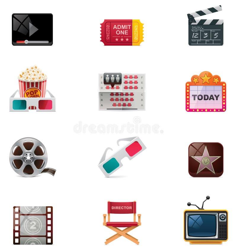 Insieme dell'icona del cinematografo di vettore illustrazione vettoriale