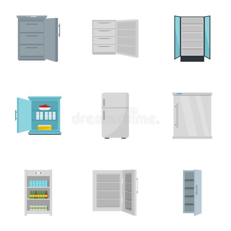 Insieme dell'icona del congelatore, stile piano royalty illustrazione gratis