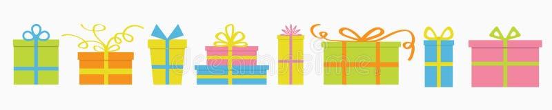 Insieme dell'icona del contenitore di regalo Elemento sveglio della decorazione del fumetto Modello della cartolina d'auguri di N royalty illustrazione gratis