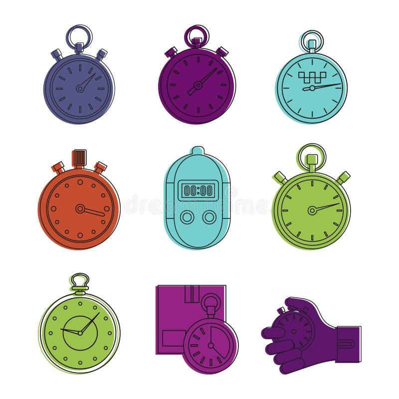 Insieme dell'icona del cronometro, stile del profilo di colore illustrazione vettoriale