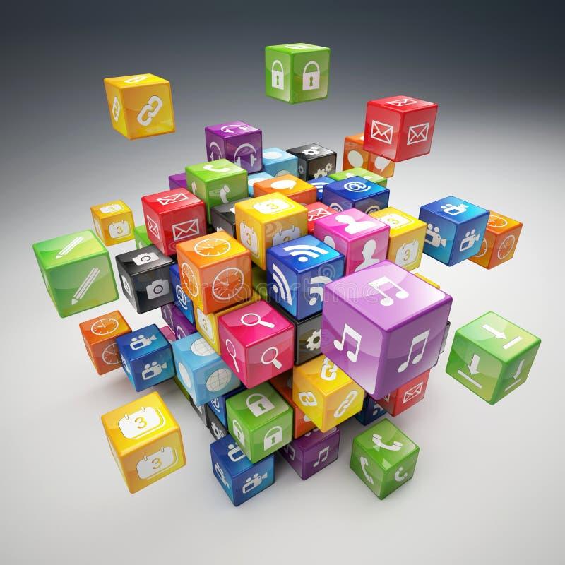 Insieme dell'icona del cubo illustrazione vettoriale