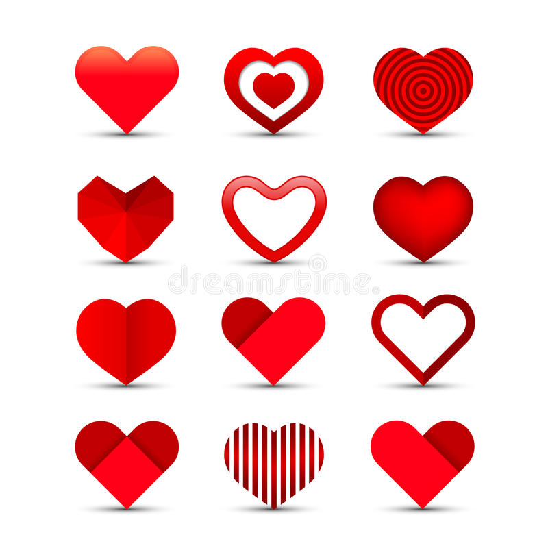 Insieme dell'icona del cuore illustrazione vettoriale