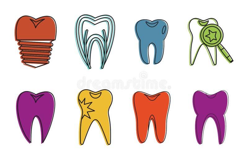 Insieme dell'icona del dente, stile del profilo di colore illustrazione di stock
