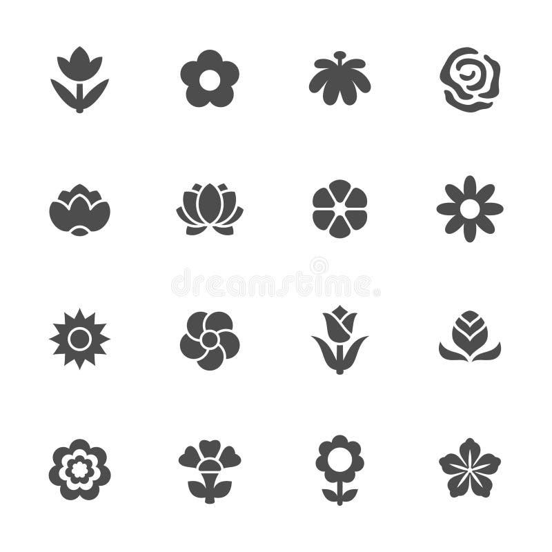 Insieme dell'icona del fiore illustrazione vettoriale
