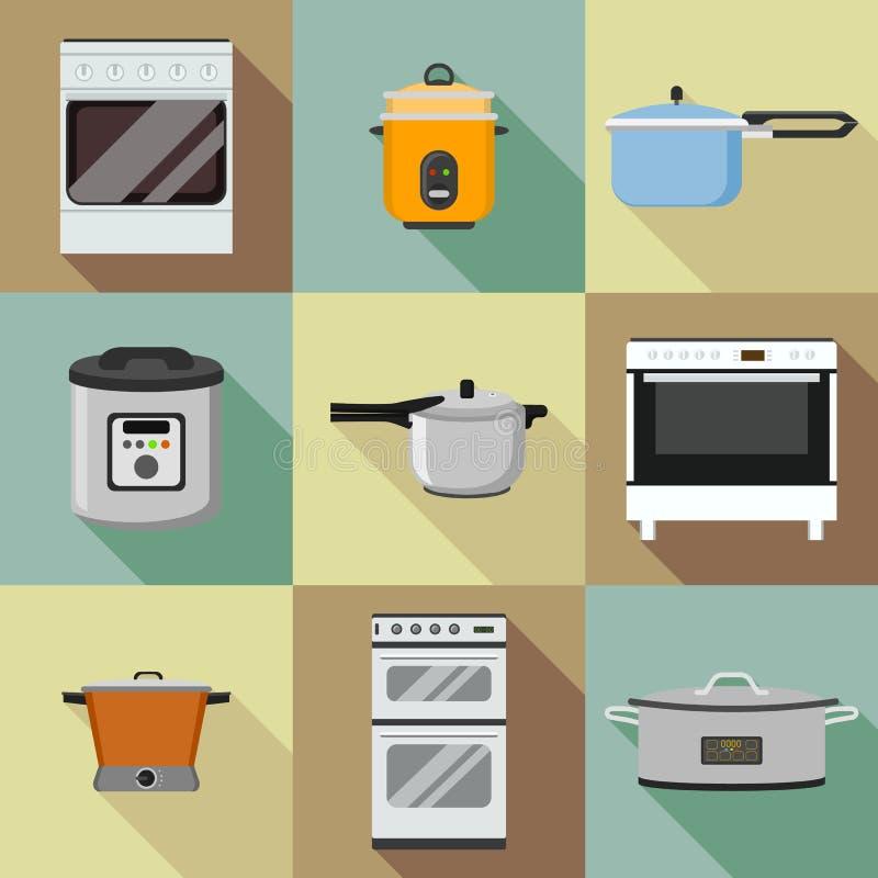 Insieme dell'icona del fornello della cucina, stile piano royalty illustrazione gratis