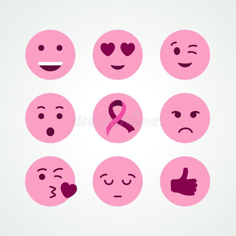 Insieme dell'icona del fronte di emoji di rosa di consapevolezza del cancro al seno royalty illustrazione gratis