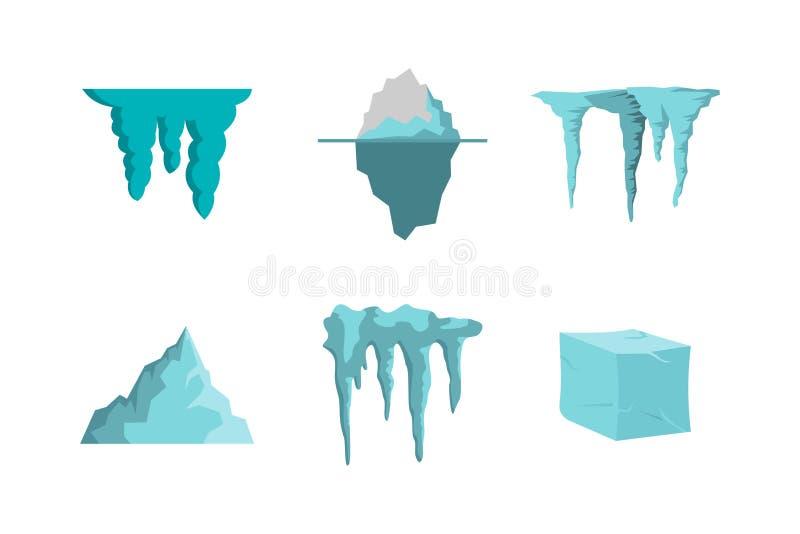 Insieme dell'icona del ghiaccio, stile piano illustrazione di stock