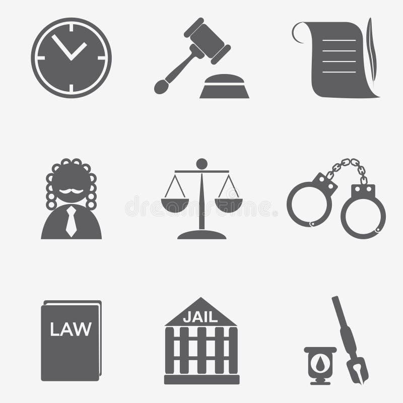 Insieme dell'icona del giudice di legge, segno della giustizia illustrazione vettoriale