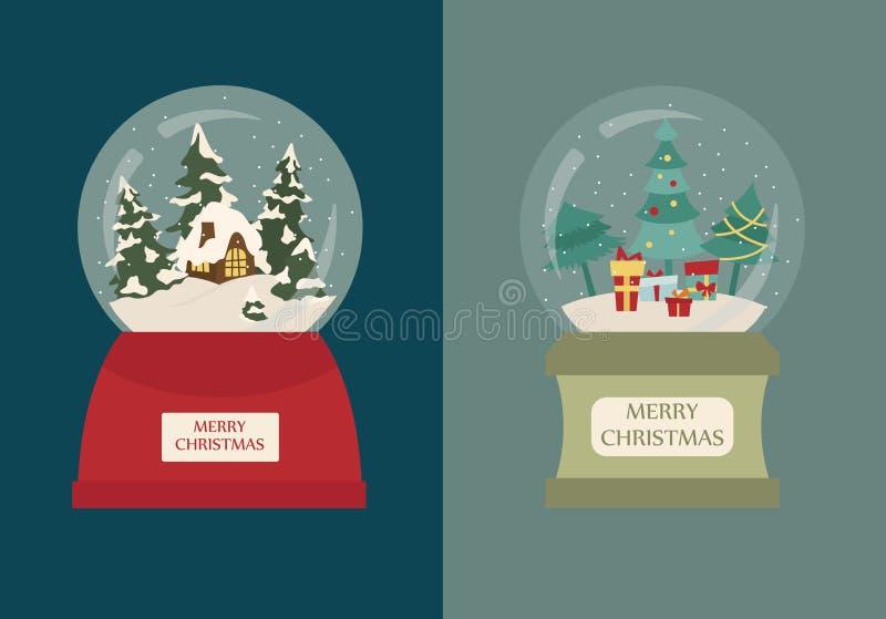 Insieme dell'icona del globo della neve Elementi per l'automobile di saluto di festa di natale royalty illustrazione gratis