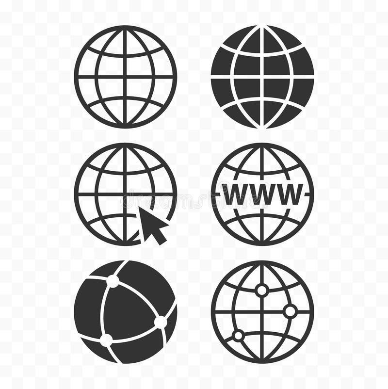 Insieme dell'icona del globo di concetto di World Wide Web Insieme di simboli di web del pianeta Icone del globo illustrazione vettoriale