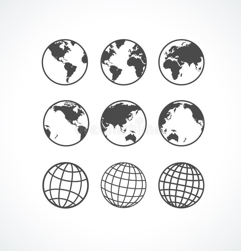 Insieme dell'icona del globo di Vecrot. illustrazione di stock
