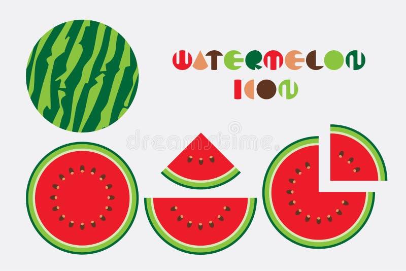 Insieme dell'icona del grafico dell'anguria con progettazione di forma circolare illustrazione di stock