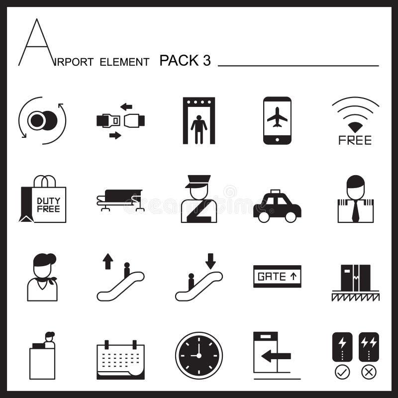 Insieme dell'icona del grafico dell'elemento dell'aeroporto Pacchetto 3 Mono pacchetto Grafico l illustrazione vettoriale