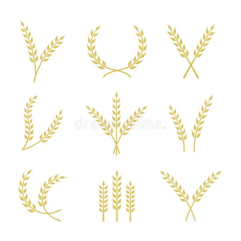 Insieme dell'icona del grano di vettore illustrazione vettoriale